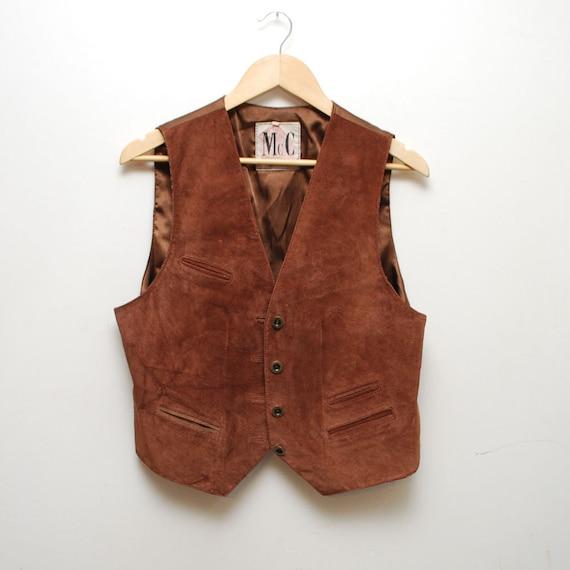 rustic...vintage 80s sienna brown suede waistcoat vest. unisex - small, medium