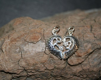Mother's Day Jewels //Sterling Silver  Heart shaped Mother AND Daughter Charms//One LOW price