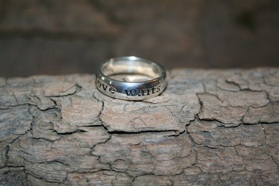 TRUE LOVE WAITS ///  .925  Ring.   Sterling Silver Engraved Purity Ring.