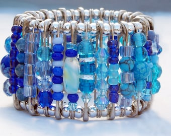 Safety Pin Bracelet - Aquamarine Blue