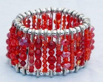 Safety Pin Bracelet - Ruby Red