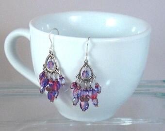 Amethyst Crystal Chandelier Earrings, Purple Jewelry, Purple, Graduation Gifts, Gifts for Grads, Bridesmaids Jewelry