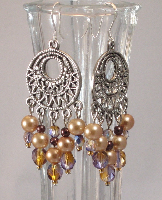 Reserved for MarthaJ - Purple, Topaz & Gold Glass Bead Chandelier Earrings, Purple, Gifts for Grads, Bridesmaids Jewelry