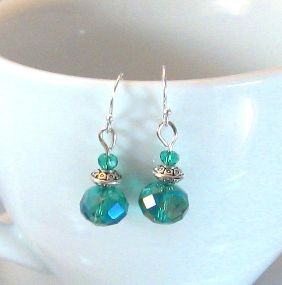 DarkAqua/Emerald Green Crystal & Silver Drop Earrings, Green Jewelry, Green, Birthday Gifts, Gifts for Grads, Bridesmaids Jewelry