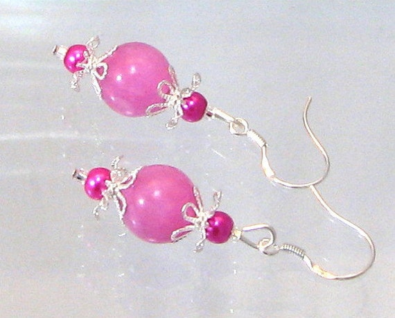 Hot Pink Jade, Pearl & Silver Drop earrings, Pink Jewelry, Pink Earrings, Hot Pink, Birthday Gifts, Gifts for Women, Summertime