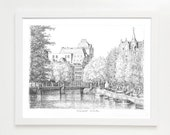 Amsterdam Canal, Black and White Drawing, Raadhuisstraat (A3, Ink on Paper, Print)