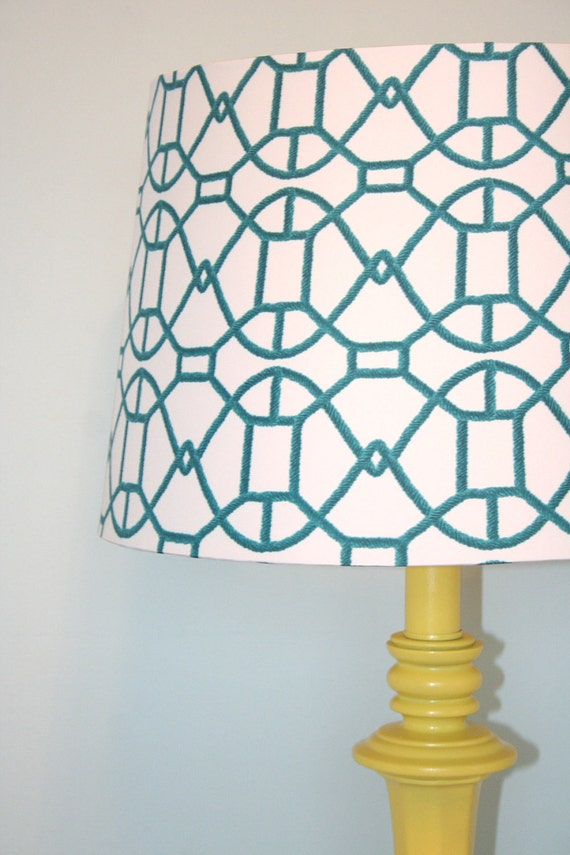 Funky Restyled Yellow Lamp with White/Teal Geo Pattern Shade