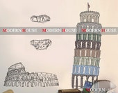 PEEL and STICK Removable Vinyl Kids Wall Decal Wall Sticker - Italy Tower of Pisa