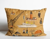 Vintage Hand Embroidered Pillow - Nautical Theme