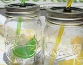 TWO Lemon Lime Mason Jar Mojito Drinks with Yellow and Lime Green Reusable BPA Free Straws