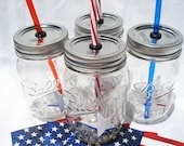 VETERAN'S Day Mason Jar Tumblers Mason Drinks with AMERICA Stars and Striped Straws Red White and Blue Drinks (5) 16 oz Labor Day Party