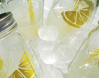 Mason Jar Tumblers Party Sippers with YELLOW Reusable BPA Free Straw FOUR 16oz