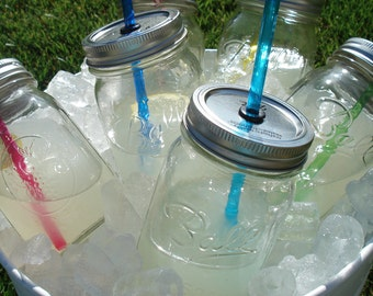 TEN Mason Jars Party Sippers RAINBOW (You Pick) Reusable BPA Free Straws (16oz) no decals