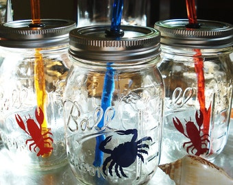 Lobster Crab Anchor Sailboats Mason Jars Beach Party Sippers Nautical Drinks Sea creatures with matching Reusable BPA Free Straws FOUR 16oz