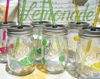 Bittersweet LEMON LIME Real Simple Mason Jar Mix and Match Party Sippers with matching Reusable BPA Free Straw (4)
