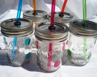 8oz Mason Jars Kids Polka Dot Party Drinks with matching RAINBOW (You Pick) Reusable BPA Free Straws SIX