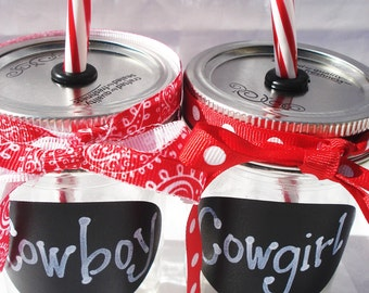 8oz Cowgirl OR Cowboy Mason Jar Kids Western PERSONALIZED Drinks Chalkboard Sticker with Reusable Red White BPA Free Straw