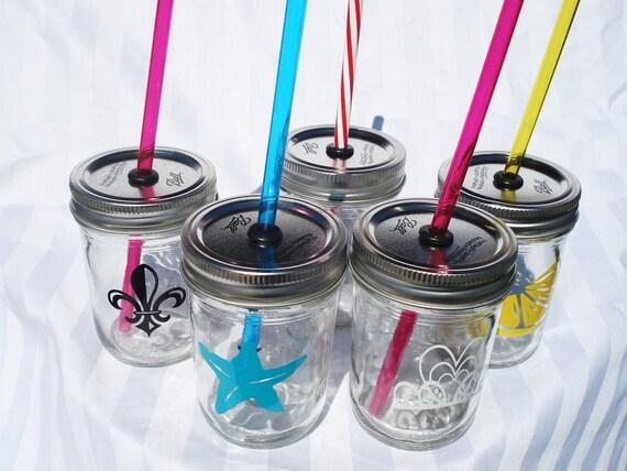 SIX 8oz Mason Jars Kids Party Drinks RAINBOW (You Pick) 6 Reusable  BPA Free Straws