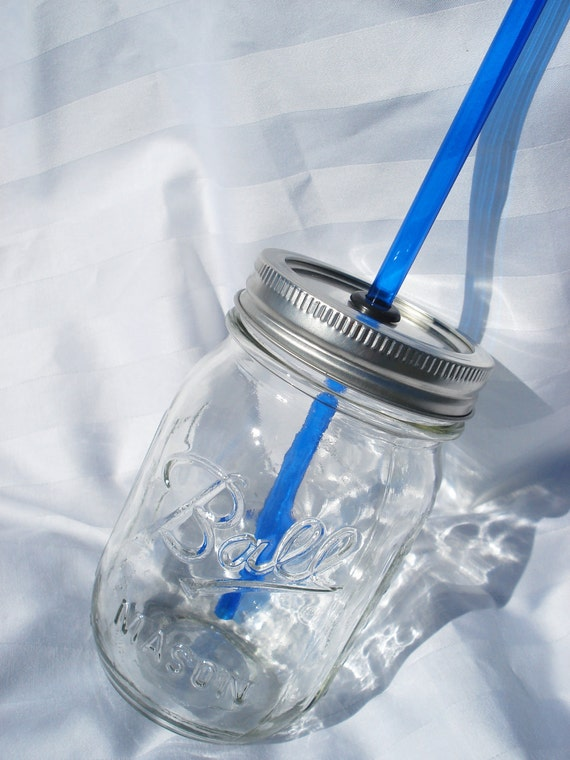RESERVED One Plain Sipper with grey straw and 3 clear glass straws