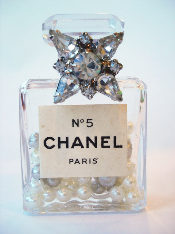 Vintage Authentic Chanel No 5 Perfume Miniature Bottle embellished with Clear Vintage Rhinestones
