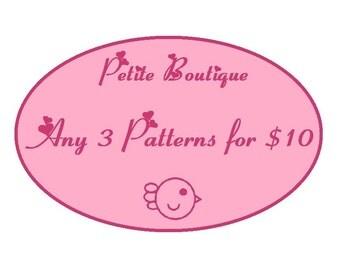 Baby shoe pattern - 3 Patterns Combo