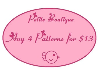 Baby shoe pattern - 4 Patterns Combo