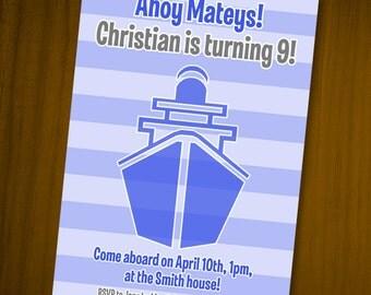 Ship Sailing Birthday Invitations / Digital File / You Print