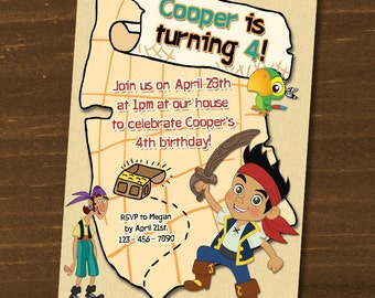 Jake and the Neverland Pirates Birthday Invitations / Digital File / You Print