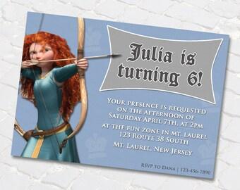 "Princess Merida from ""Brave"" Birthday Invitations / Digital File / You Print"