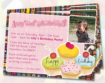 Girl Cupcake Birthday Invitations with photo / Digital File / You Print