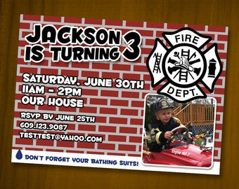 Firefighter-themed Birthday Invitations / Digital File / You Print