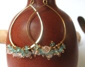 Hammered Gold Earrings Wire Wrapped Turquoise Apatite and Rose Quartz