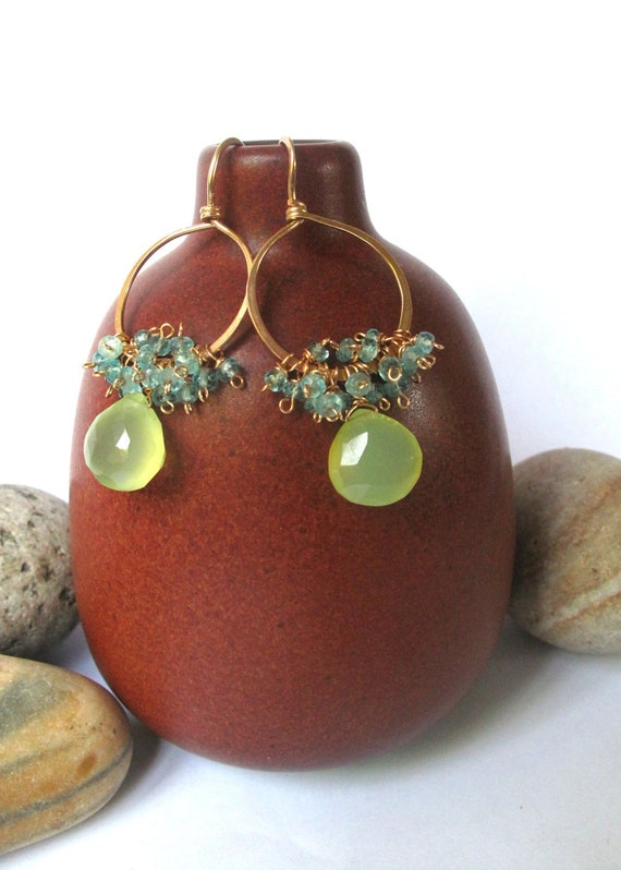 Handmade Hammered Gold Hoop Earrings with Green Chancledony and Turquoise Apatite