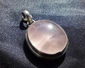 Rose Quartz Cabochon with Sterling Silver Pendant