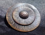 Vintage Copper Sunburst Pinback Brooch