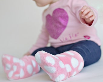 Pink polka dot slouch booties in ultra cuddle fleece