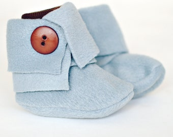 Faux Wrap Top Baby Booties in Pewter Colored Fleece