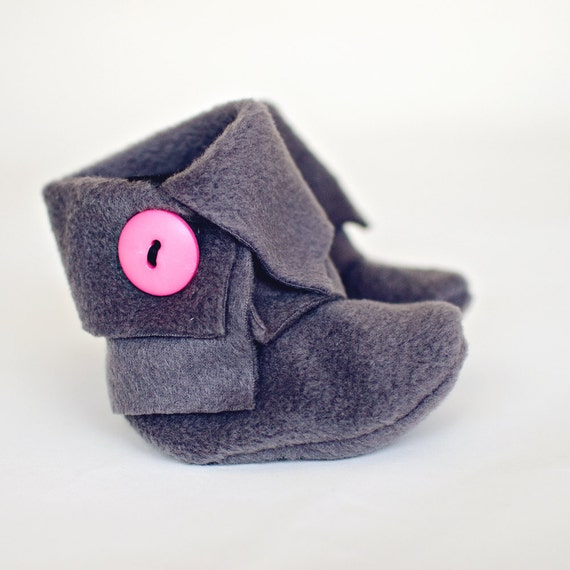 Faux Wrap Top Baby Booties in Charcoal Fleece