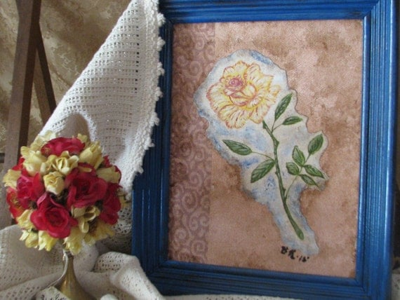 Mixed Media Painting Yellow Rose Botanical Painting in Acrylics with Handpainted Antiqued Blue Frame to Coordinate