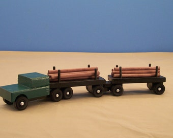 Piggy Back Log Tractor Trailer, Wood Truck,Toy Wood Truck, Kids Toys,Toy Wood Car,Log Hauling Truck, Truck Toy