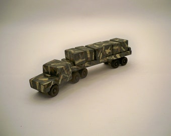 Tractor Trailer With Cargo, Green Camo Tractor Trailer With Cargo,Wood Tractor Trailer, Wood Toy Truck, Flat Bed Tractor Trailer, Wood Toy
