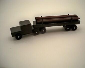 Wood Log Hauling Tractor Trailer,  Wood Toy Truck, Wood Toy Car,Wood Toy Truck,Classic Wood Truck, Kids WoodToy