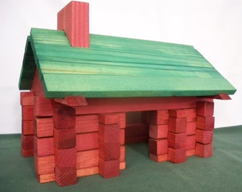 Toy Blocks,Square Log Home Set, Wood Toy Blocks, Building Blocks, Log Building Blocks, Educational Blocks, House Blocks, Wood Toy Blocks