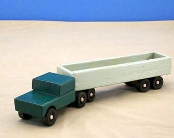 Toy Wood Tractor Trailer Open Bed, Wood Toy Truck, Toy Truck, Toy Tractor Trailer, Boys WoodToy, Classic Wood Toy, ClassicWood Toy Truck