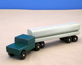Toy Tanker Truck, Wood Toy Tanker Truck, Wood Toy Tractor Trailer Tanker, Semi Tractor Trailer, Wood Toy Truck, Toy Truck, Kids Toy Truck,
