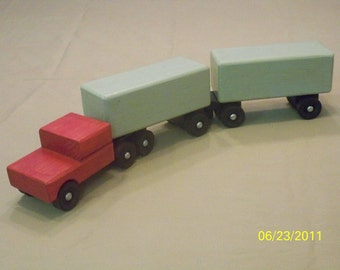 Piggy Back Tractor Trailer, Wood Toy Truck, Kids Wood Toy, Kids Toy, Toy Truck, Classic Wood Toy,  Semi Truck ,Wooden Toys,