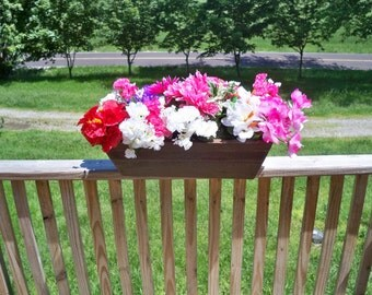 Rustic Flower Box, Rustic Wood Center Piece, Indoor Flower Box, Outdoor Flower Box, Deck Flower Box, Patio Flower Box,