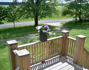 Rustic Wood Flower Pot, Deck Flower Pot, Indoor Outdoor Flower Pot, Garden Rustic Flower Pot, Center Piece