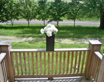 Rustic Flower Pot, Wood Flower Pot, Deck Flower Pot,Rustic Centerpiece,  Patio Flower Pot, Indoor Outdoor Flower Pot