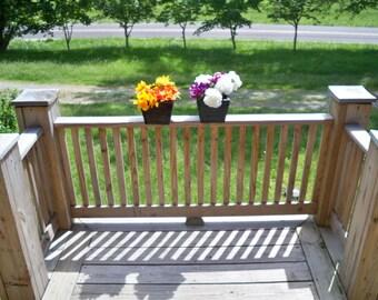 2 Rustic Wood Flower Pots, 2 Deck Flower Pots, 2 Patio Wood Flower Pots, 2 Wood Indoor Outdoor Flower Pots,